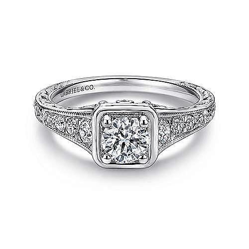 Gabriel - Elisa Platinum Round Straight Engagement Ring
