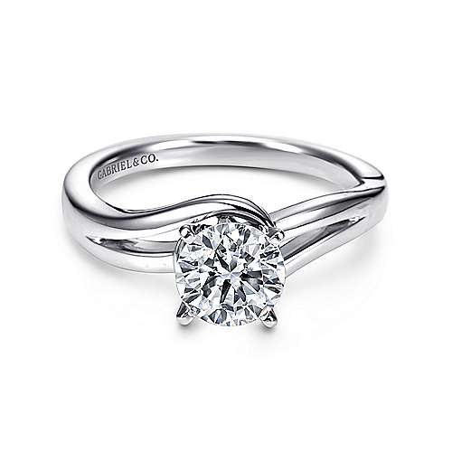 Gabriel - Elise 14k White Gold Round Bypass Engagement Ring