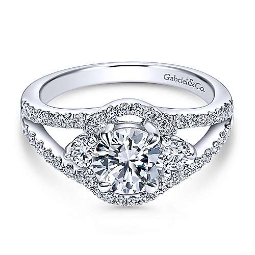 Gabriel - Elissa 14k White Gold Round 3 Stones Engagement Ring
