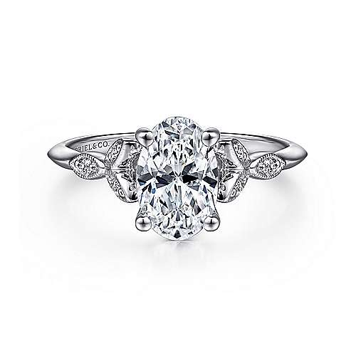 Gabriel - Eliza 14k White Gold Oval Straight Engagement Ring