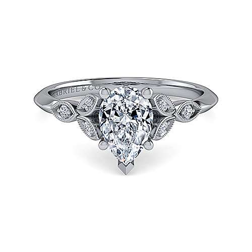 Gabriel - Eliza 14k White Gold Pear Shape Straight Engagement Ring
