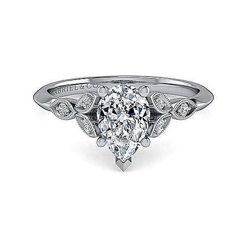 Gabriel - Eliza 14k White Gold Pear Shape Straight Engagement Ring