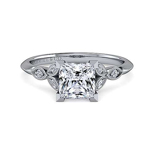Gabriel - Eliza 14k White Gold Princess Cut Straight Engagement Ring