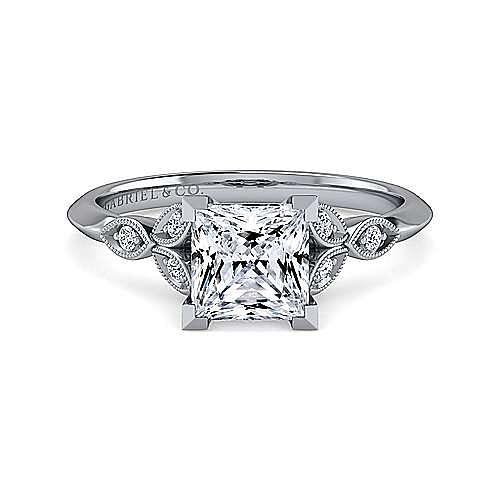 Gabriel - Eliza 14k White Gold Princess Cut Straight Engagement Ring