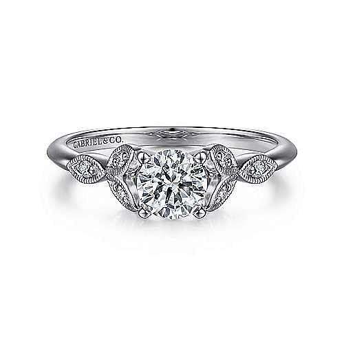 Gabriel - Eliza 14k White Gold Round Straight Engagement Ring