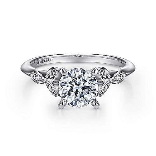 Eliza 14k White Gold Round Straight Engagement Ring angle 1