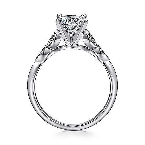 Eliza 14k White Gold Round Straight Engagement Ring angle 2