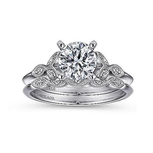 Eliza 14k White Gold Round Straight Engagement Ring angle 4