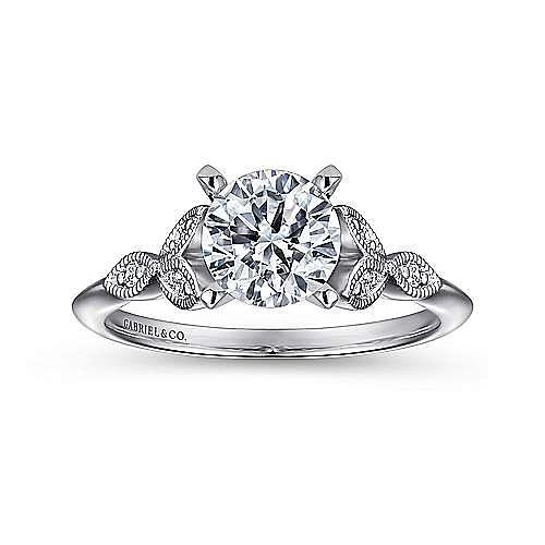 Eliza 14k White Gold Round Straight Engagement Ring angle 5