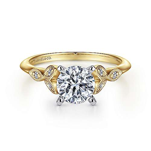 Gabriel - Eliza 14k Yellow And White Gold Round Straight Engagement Ring