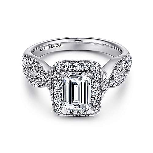 Gabriel - Elizabeth 14k White Gold Emerald Cut Halo Engagement Ring