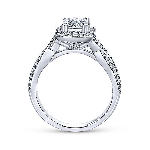 Elizabeth 14k White Gold Emerald Cut Halo Engagement Ring angle 2