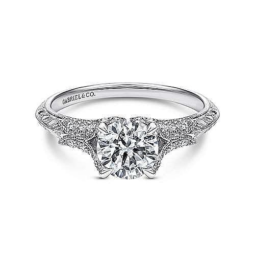 Gabriel - Elizabeth 18k White Gold Round Split Shank Engagement Ring