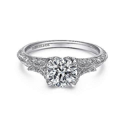 Elizabeth 18k White Gold Round Straight Engagement Ring angle 1
