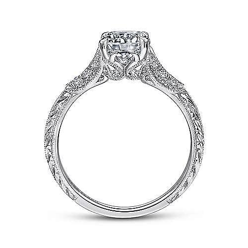 Elizabeth 18k White Gold Round Straight Engagement Ring angle 2