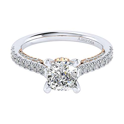 Gabriel - Ella 18k White And Rose Gold Cushion Cut Straight Engagement Ring