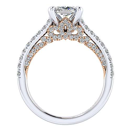 Ella 18k White And Rose Gold Cushion Cut Straight Engagement Ring angle 2