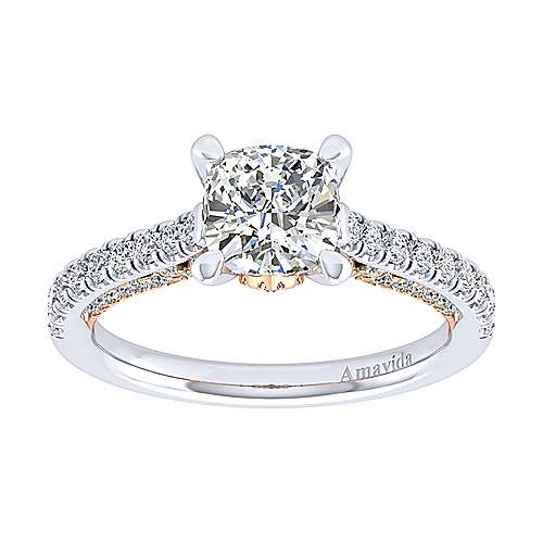 Ella 18k White And Rose Gold Cushion Cut Straight Engagement Ring angle 5
