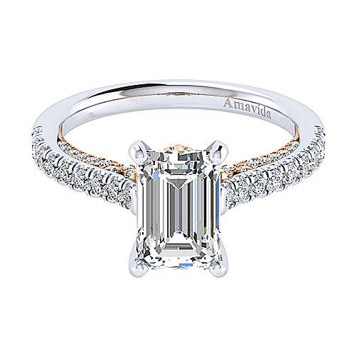Ella 18k White And Rose Gold Emerald Cut Straight Engagement Ring angle 1