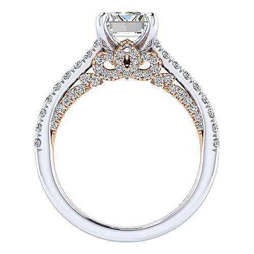Ella 18k White And Rose Gold Emerald Cut Straight Engagement Ring angle 2