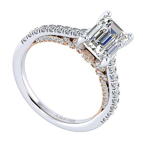 Ella 18k White And Rose Gold Emerald Cut Straight Engagement Ring angle 3