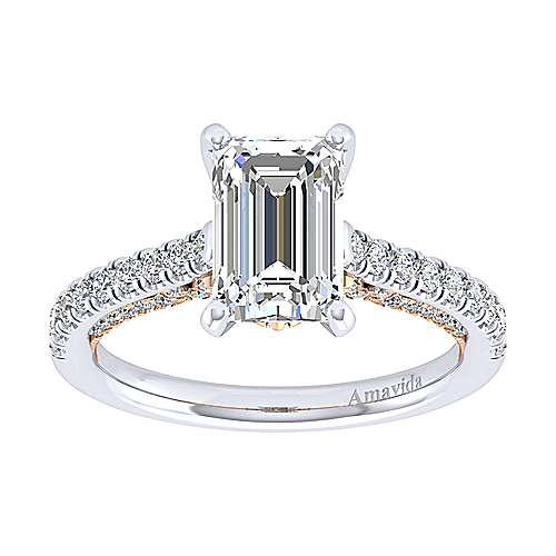 Ella 18k White And Rose Gold Emerald Cut Straight Engagement Ring angle 5