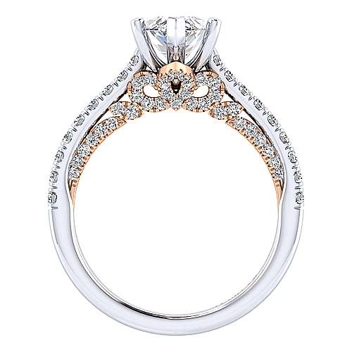 Ella 18k White And Rose Gold Marquise  Straight Engagement Ring angle 2