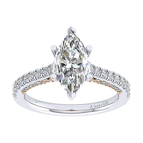 Ella 18k White And Rose Gold Marquise  Straight Engagement Ring angle 5