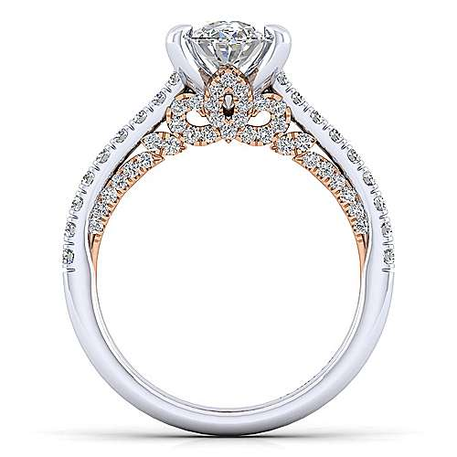 Ella 18k White And Rose Gold Oval Straight Engagement Ring angle 2