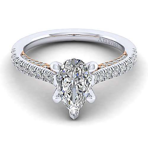 Gabriel - Ella 18k White And Rose Gold Pear Shape Straight Engagement Ring