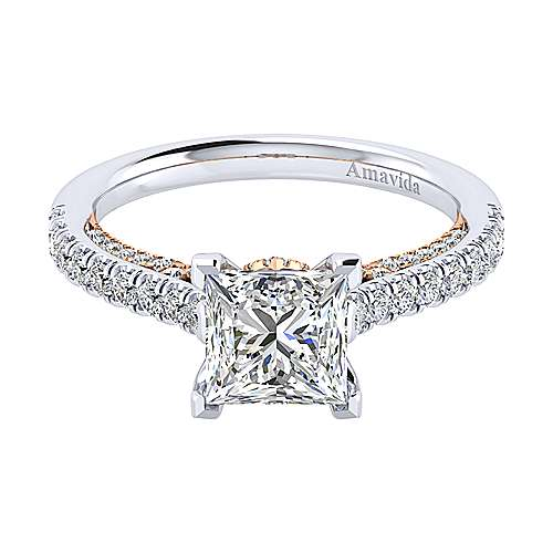 Gabriel - Ella 18k White And Rose Gold Princess Cut Straight Engagement Ring