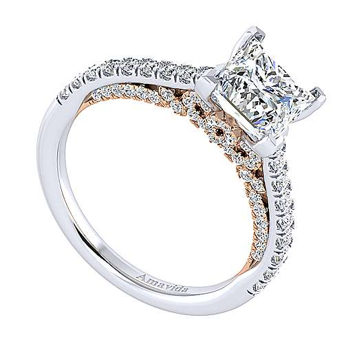 Ella 18k White And Rose Gold Princess Cut Straight Engagement Ring angle 3