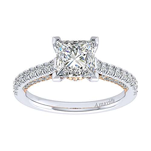 Ella 18k White And Rose Gold Princess Cut Straight Engagement Ring angle 5