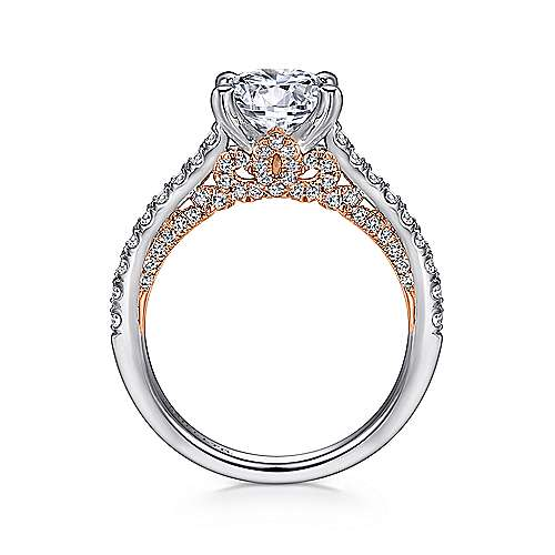 Ella 18k White And Rose Gold Round Straight Engagement Ring angle 2