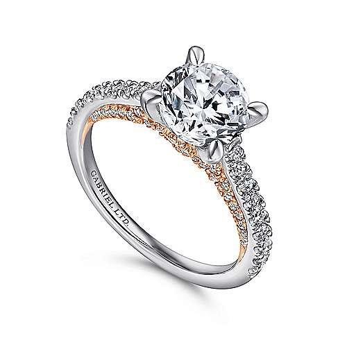 Ella 18k White And Rose Gold Round Straight Engagement Ring angle 3