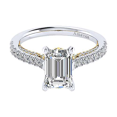 Ella 18k Yellow And White Gold Emerald Cut Straight Engagement Ring angle 1