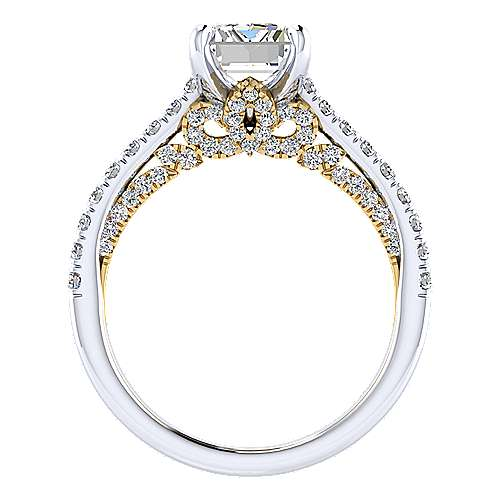 Ella 18k Yellow And White Gold Emerald Cut Straight Engagement Ring angle 2