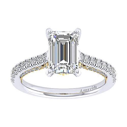 Ella 18k Yellow And White Gold Emerald Cut Straight Engagement Ring angle 5
