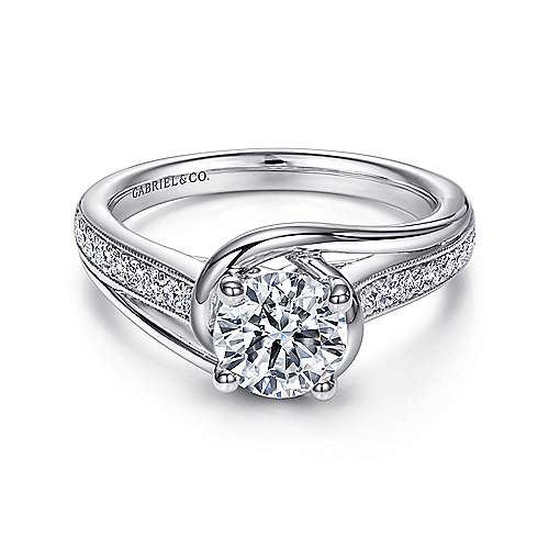 Gabriel - Ellaria 14k White Gold Round Bypass Engagement Ring