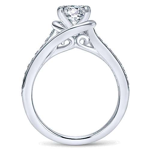 Ellaria 14k White Gold Round Bypass Engagement Ring angle 2