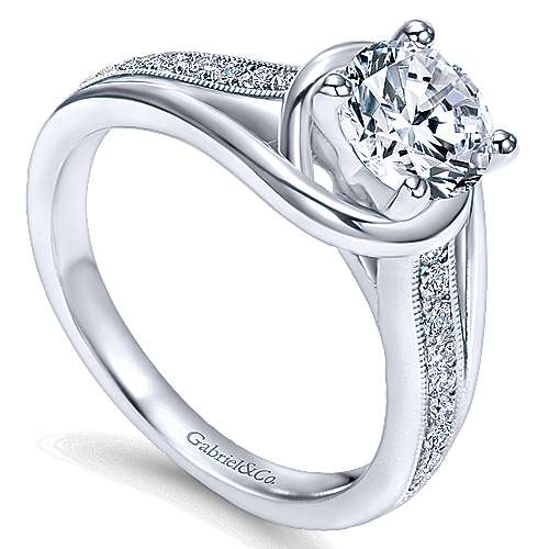 Ellaria 14k White Gold Round Bypass Engagement Ring angle 3