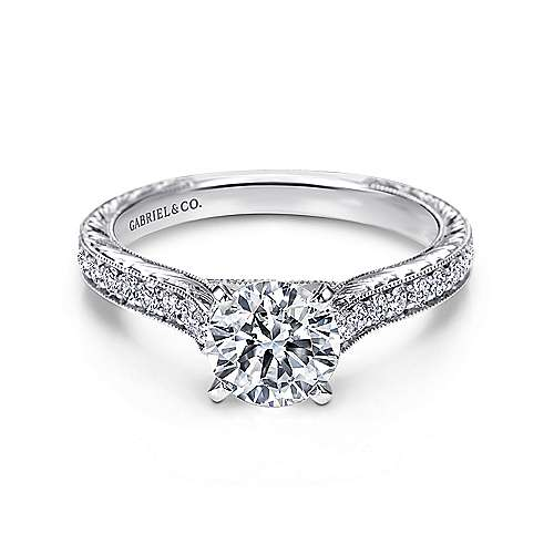 Gabriel - Elle 14k White Gold Round Straight Engagement Ring