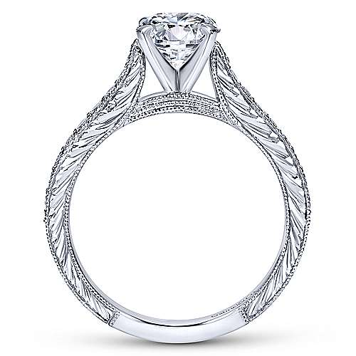 Elle 14k White Gold Round Straight Engagement Ring angle 2