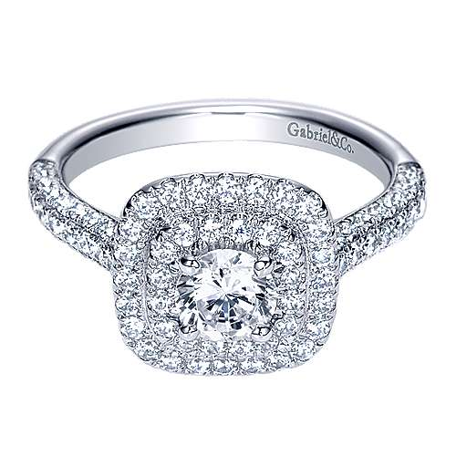 Gabriel - Ellie 14k White Gold Round Double Halo Engagement Ring