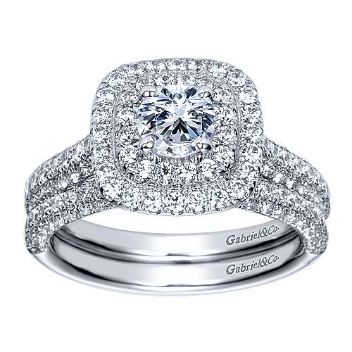 Ellie 14k White Gold Round Double Halo Engagement Ring angle 4