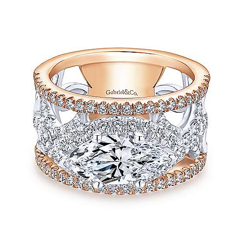 Elliot 18k White And Rose Gold Marquise  Halo Engagement Ring angle 1