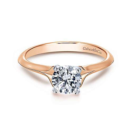 Gabriel - Ellis 14k White And Rose Gold Round Solitaire Engagement Ring