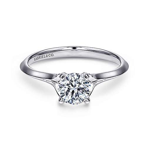 Ellis 14k White Gold Round Solitaire Engagement Ring angle 1