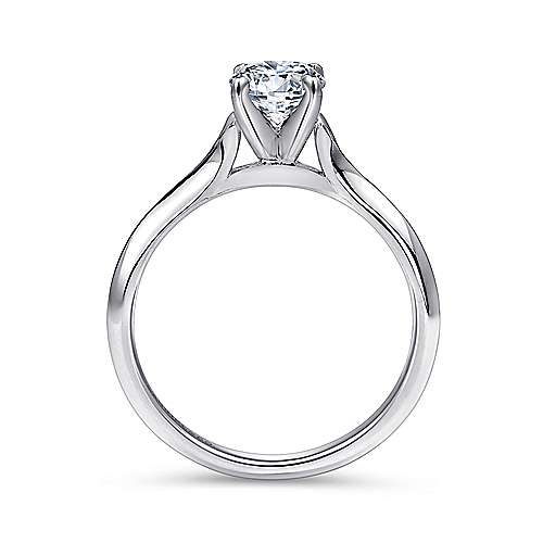 Ellis 14k White Gold Round Solitaire Engagement Ring angle 2