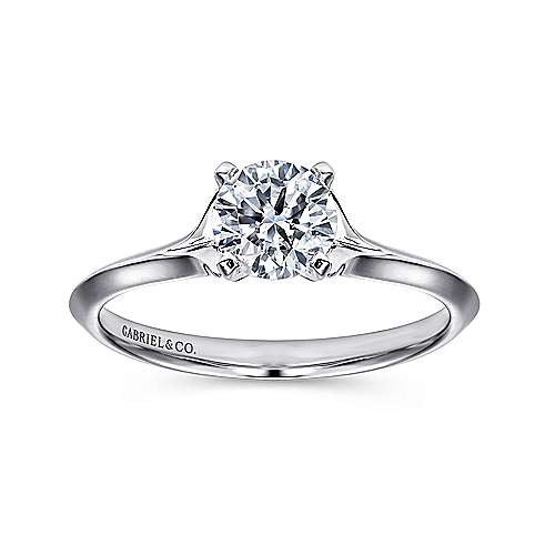 Ellis 14k White Gold Round Solitaire Engagement Ring angle 5